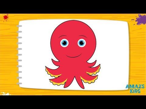 Видеозапись Обучающие видео. Уроки рисования карандашом. Учимся рисовать осьминожку