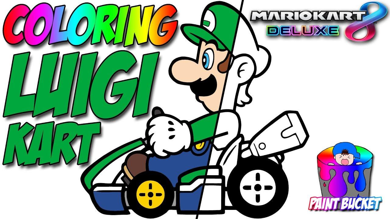 Mario Kart 8 Deluxe Luigi - Nintendo Switch Super Mario Coloring ...