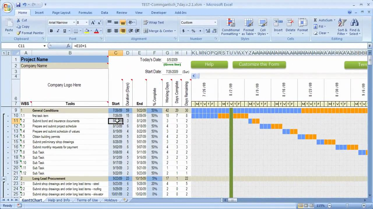 How Dates work in Excel Schedule with Gantt chart YouTube – Construction Schedules Templates