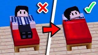 COMMENT DORMIR DANS LA COUVERTURE D'UN LIT MINECRAFT  ? - Tuto Facile Minecraft