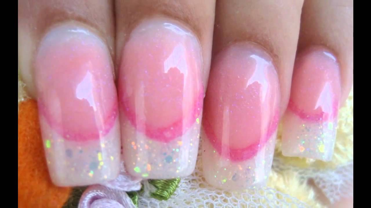 Acrylic nails Glitter french tips with pink smile line part 1 - YouTube