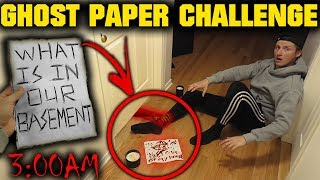 (LOCKED BASEMENT DOOR) PLAYING THE GHOST PAPER CHALLENGE ON OUR HAUNTED BASEMENT DOOR AT 3 AM
