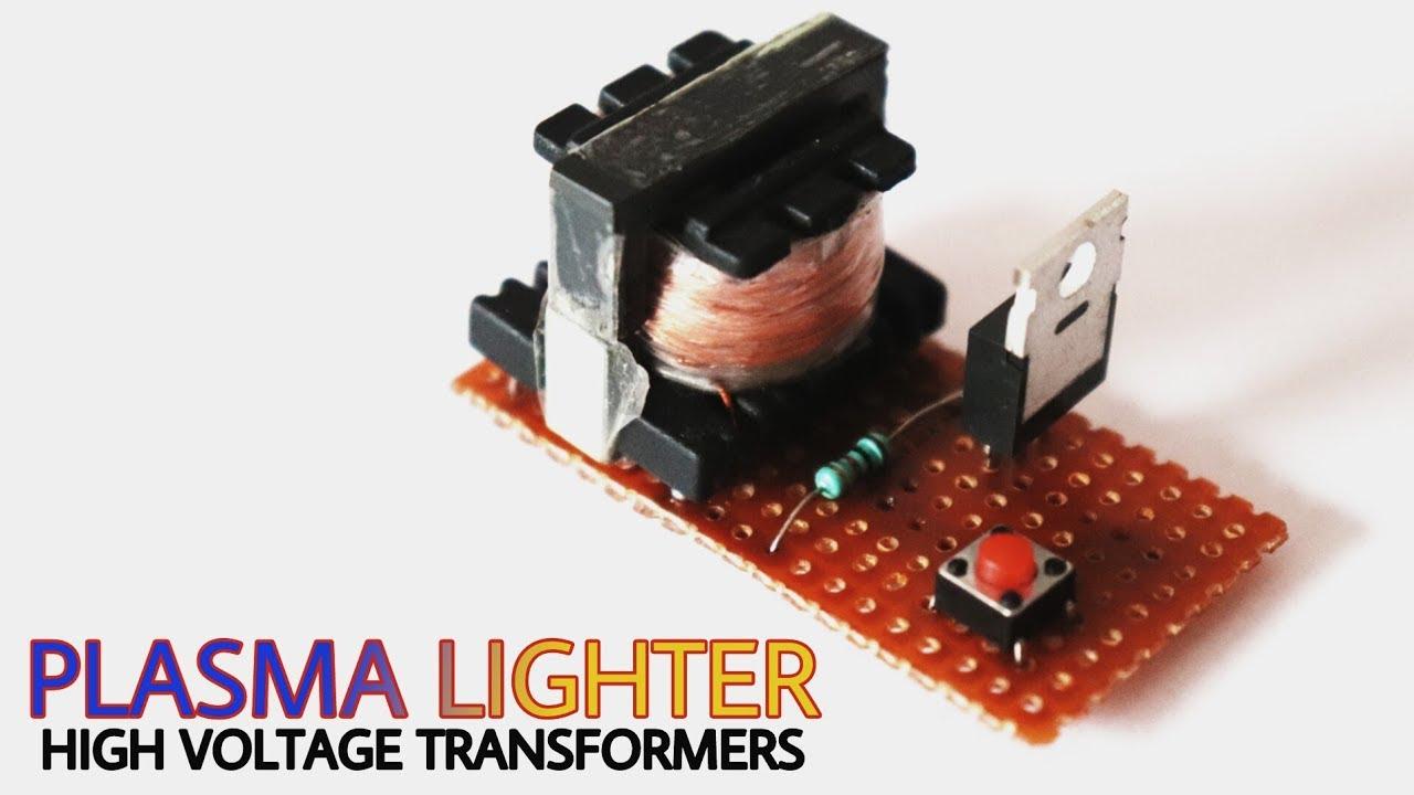 Plasma lighter using one mosfet | make high voltage transformer for plasma  lighter |