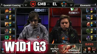 Gambit Gaming vs Elements | S5 EU LCS Summer 2015 Week 1 Day 1 | GMB vs EL W1D1 G3 Round 1