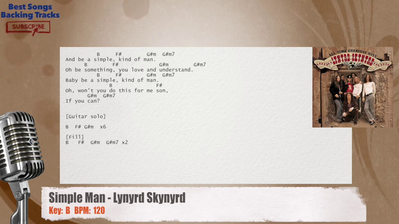 Simple Man Lynyrd Skynyrd Vocal Backing Track With Chords And