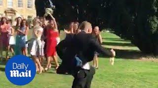 Boyfriend RUNS FOR THE HILLS as girlfriend catches wedding bouquet