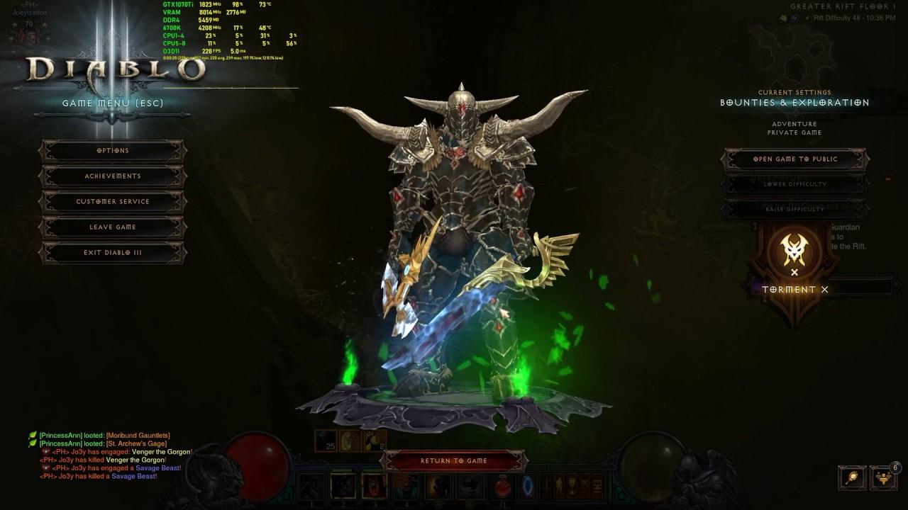 Diablo III - 166FPS High 1440p - GTX 1070 Ti + i7-6700k FPS Test