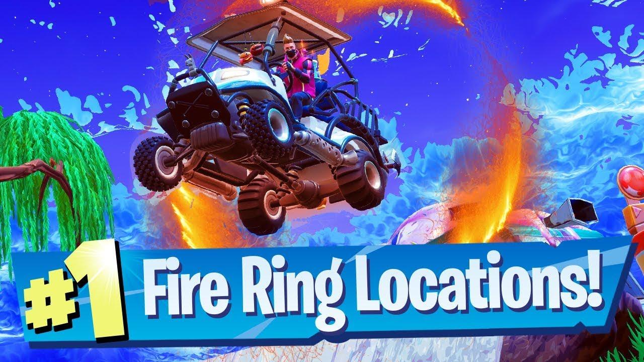 Fortnite Flaming Hoop Fire Ring Locations Week 4 Challenge Youtube