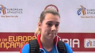 Sara Kolak (CRO) after 2nd place in Javelin U23 Women, Leiria 2014