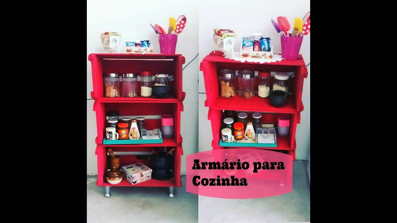 Armário para Cozinha Feito com Caixote de Feira Carla Oliveira YouTube