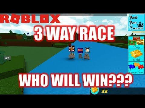 Roblox: EPIC 3 WAY RACE! User vs NubNeb vs DigDug | Build a Boat for Treasure