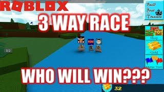 Roblox: EPIC 3 WAY RACE! User vs NubNeb vs DigDug | Build a Boat for Treasure