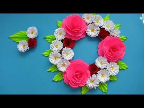 DIY. Simple Home Decor. Wall Decoration Dor. Hanging Flower. Paper Craft Ideas