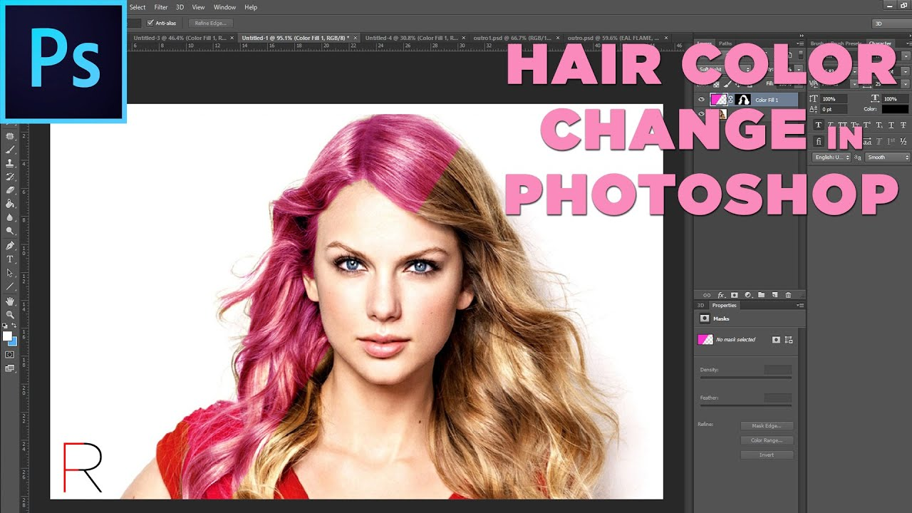 Hair Color Change Tutorial - Adobe Photoshop | RealFlame - YouTube