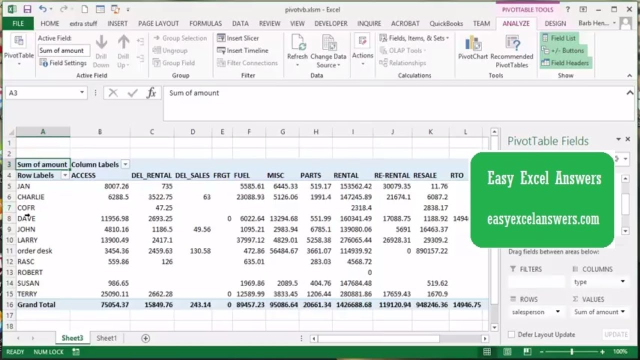 Create  pivot table with vba in excel also youtube rh
