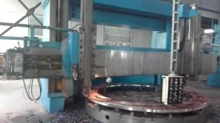 Vertical turning lathe machine is running