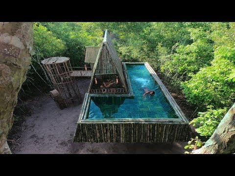 Build An Amazing Swimming Pool Around Viking Villa In The Air By Bamboo
