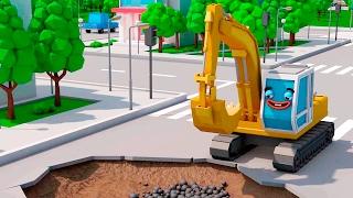 La Excavadora es Amarillo - Carritos y amigos - La zona de construcción - Caricatura de carros