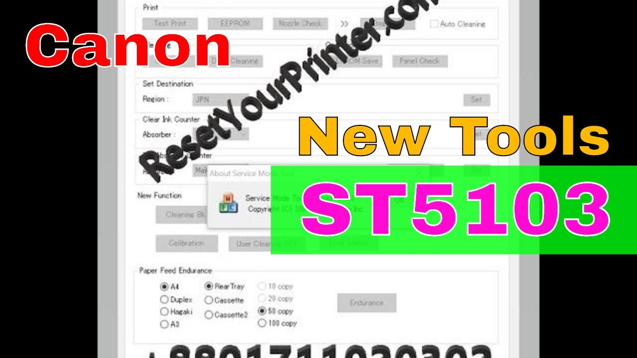 Canon Service Tool V5103, Canon Service Mode Tool Version 5 103 (With  Proof),