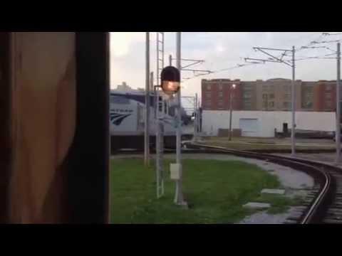 RARE: TECO Trolley Waits For Amtrak At Diamond In Tampa Fla.