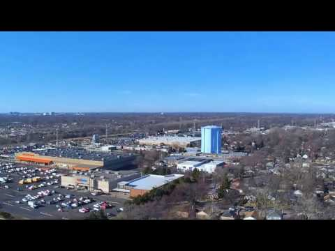 drone view of chicago from evanston