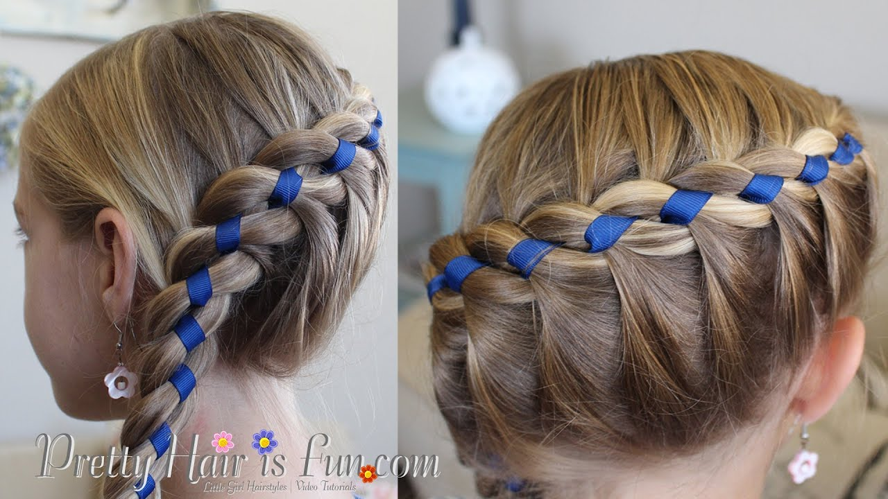 FRENCH FOUR STRAND BRAID WITH RIBBON!!  - YouTube