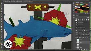 Digital Painting: Classic Shark and Anchor