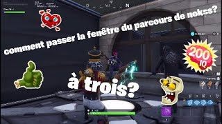 how to pass the window of the course of nokss to three?? (Fortnite)