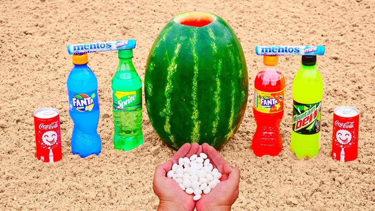 Watermelon VS Coca Cola, Fanta, Sprite, Mtn Dew VS Mentos