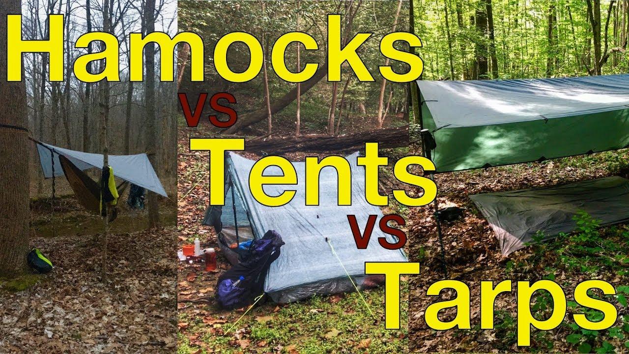 Hammocks vs Tents vs Tarps