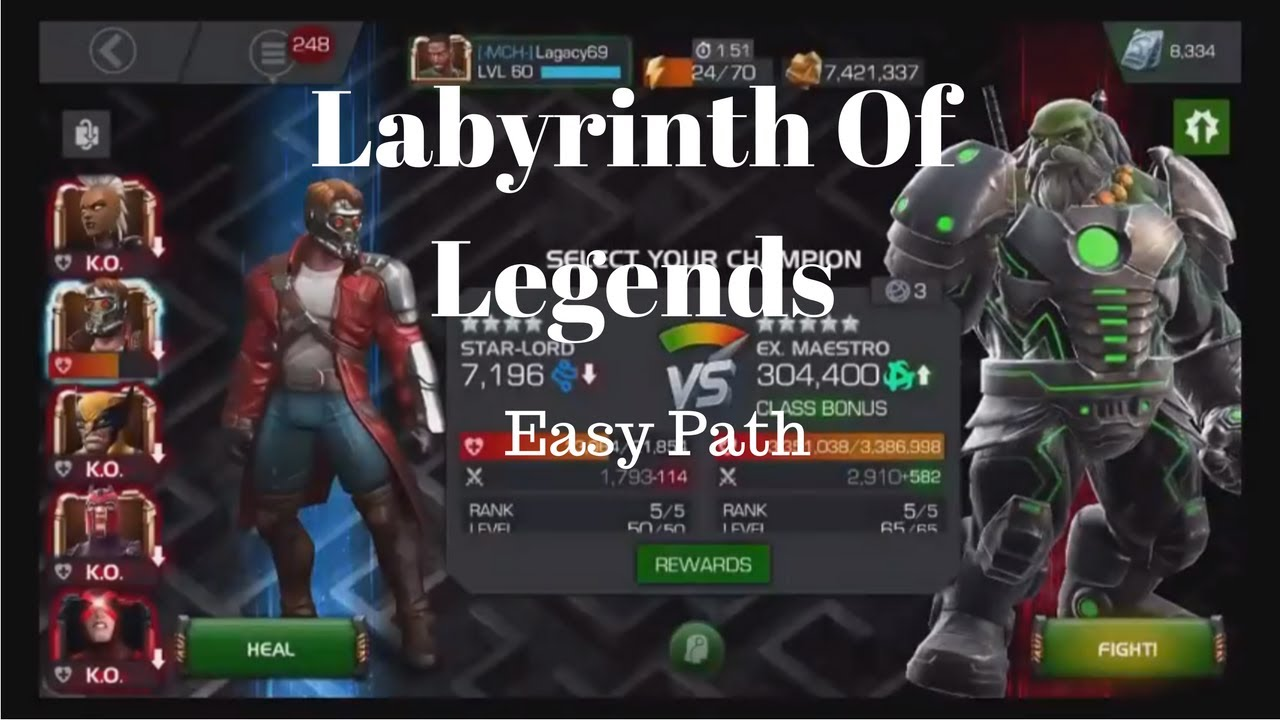 Labyrinth of Legends Path 1 (LOL Easy Path) Full Run - MCOC Guide