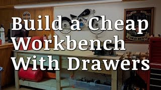 Jeremy shows you how to build a cheap workbench with drawers for $65 or less. Follow along with free downloadable plans that