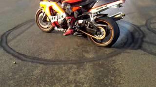 john burning out his bike tyre