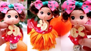 Barbie Princess with Orange Dress | Party Ideas - Make Barbie Fruit Cake | Food Art Decoration