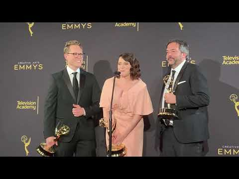 Rachel Bloom, Jack Dolgen, Adam Schlesinger (Crazy Ex-Girlfriend): 2019 Emmy speech backstage