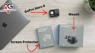 New GoPro Hero 8 Black Tampered Glass Screen Protector and Suction Cup Mount