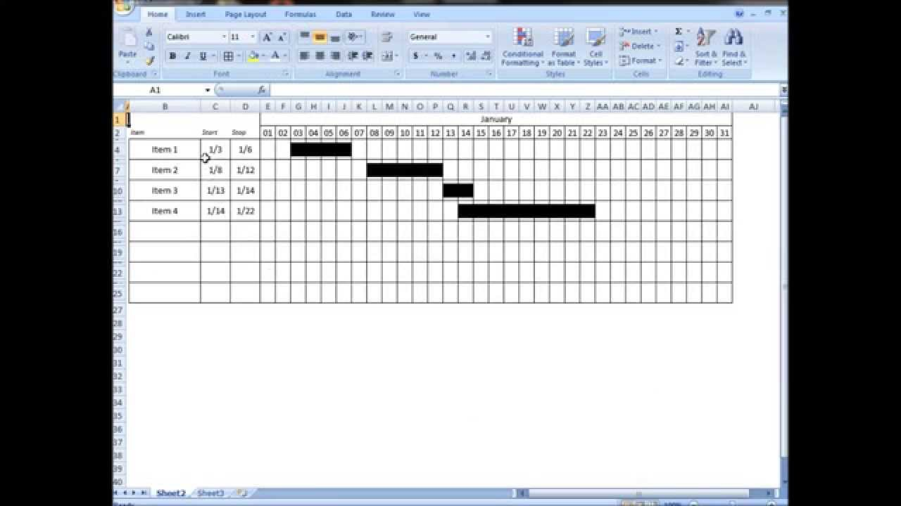 excel tutorial make interactive visual schedule gantt chart with