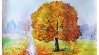 Уроки рисования. Как нарисовать ЗОЛОТУЮ ОСЕНЬ акварелью How to draw an autumn(Скачайте видео урок