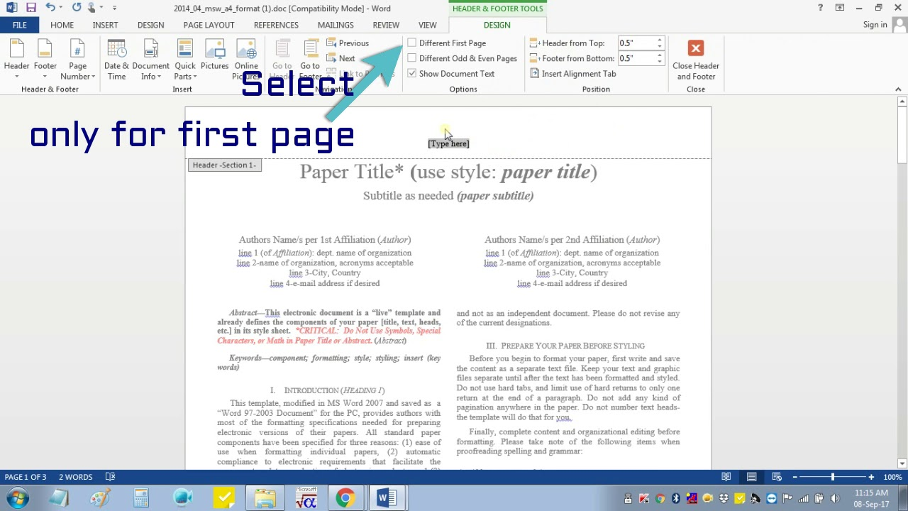 Insert Header Footer in MS-word for IEEE Camera Ready Manuscript