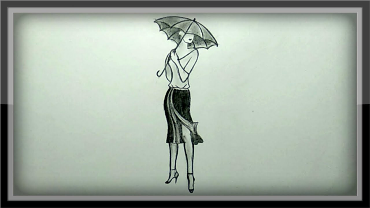 Pencil drawing a beautiful girl with umbrella easy