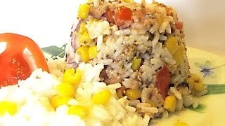Рисовый Салат с Сардинами кулинарный видео рецепт