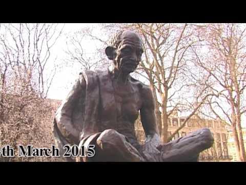Mahatma Gandhi Statue in Parliament Square London 2015