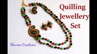 Paper Quilling Necklace Set/ Paper Jewellery Set / quilling earring