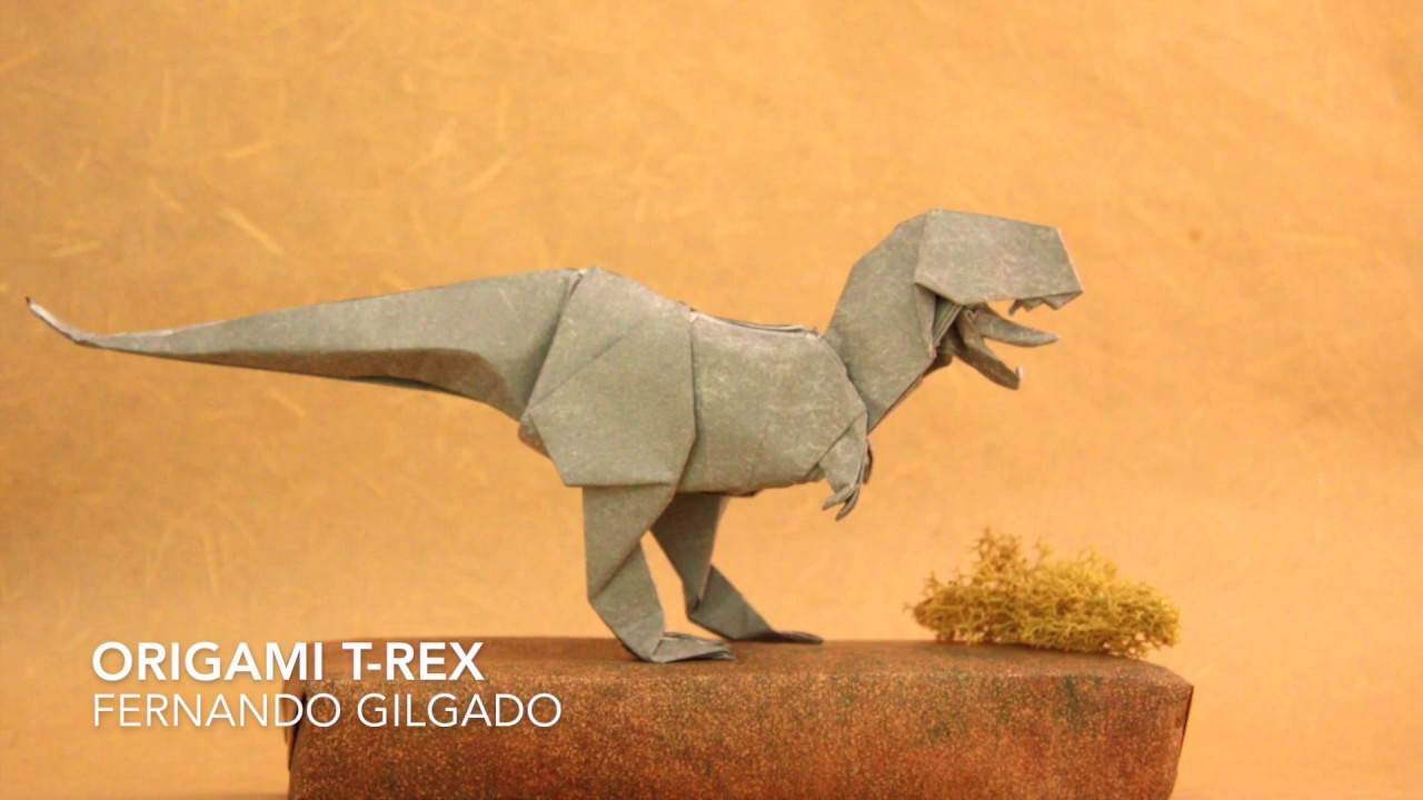 Origami Tyrannosaurus Rex (John Montroll) - Dinosaur #1 - YouTube | 720x1280