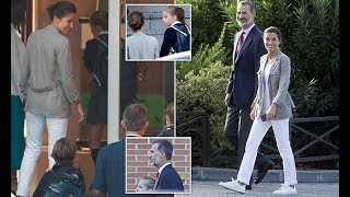 Queen Letizia no makeup as she and King Felipe drop off daughters at school
