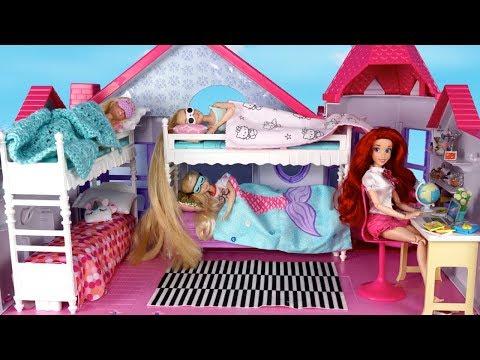 barbie-rapunzel-bunkbedroom-school-morning-routine-with-frozen-elsa