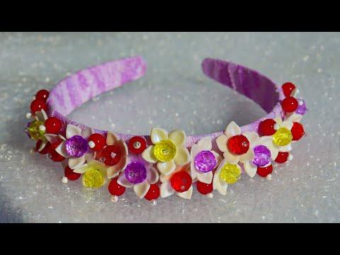 DIY Headband with polymer clay flowers Dolce Gabbana style #2