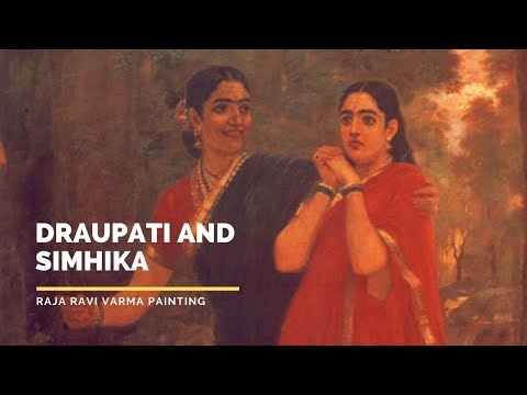 Draupati and Simhika   by Raja Ravi Varma