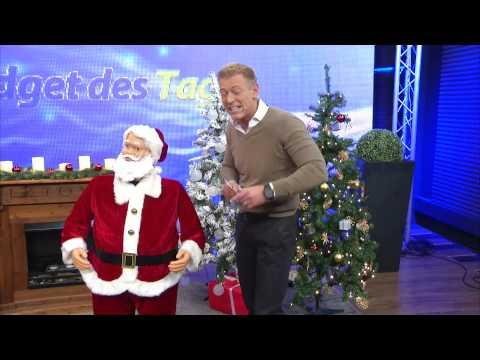 infactory Singender & tanzender Weihnachtsmann mit Karaoke, 150 cm