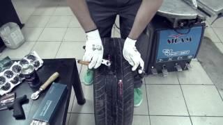 Ремонт прокола шины с помощью установки жгута